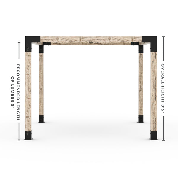 Pergola Kit With Shade Sail For 6x6 Wood Posts _10x12_graphite _10x12_crimson _10x12_denim _10x12_white