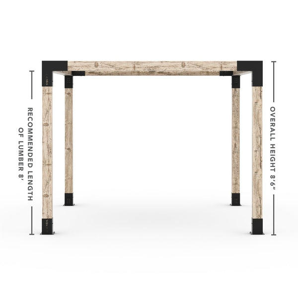Pergola Kit With Shade Sail For 6x6 Wood Posts _12x12_graphite _12x12_crimson _12x12_denim _12x12_white