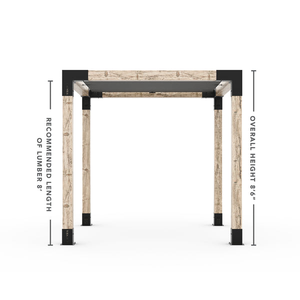 Pergola Kit With Shade Sail For 6x6 Wood Posts _8x8_graphite _8x8_crimson _8x8_denim _8x8_white