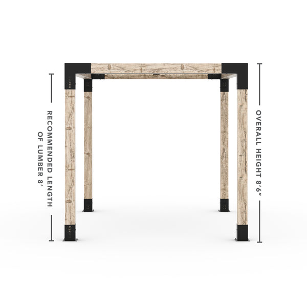 Pergola Kit With Shade Sail For 6x6 Wood Posts _8x12_graphite _8x12_crimson _8x12_denim _8x12_white