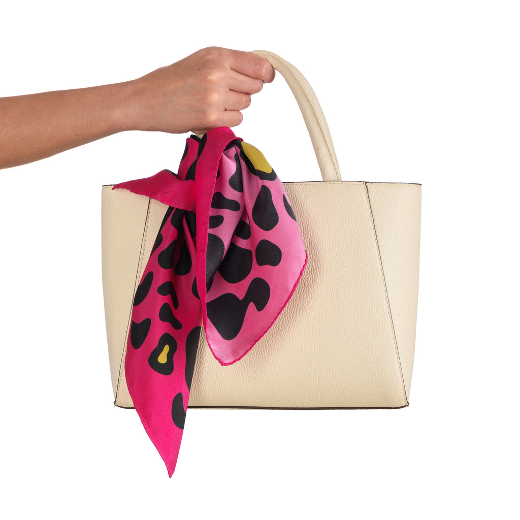 Animal Print Small Scarf in Fuschia