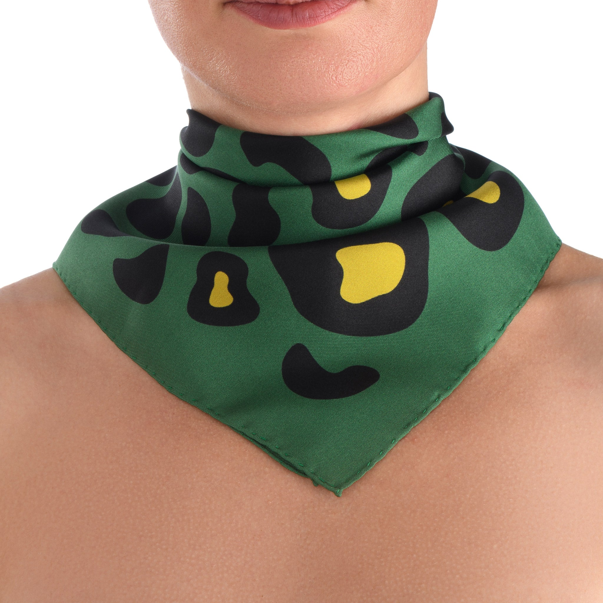 Animal Print Small Scarf in Nile Green