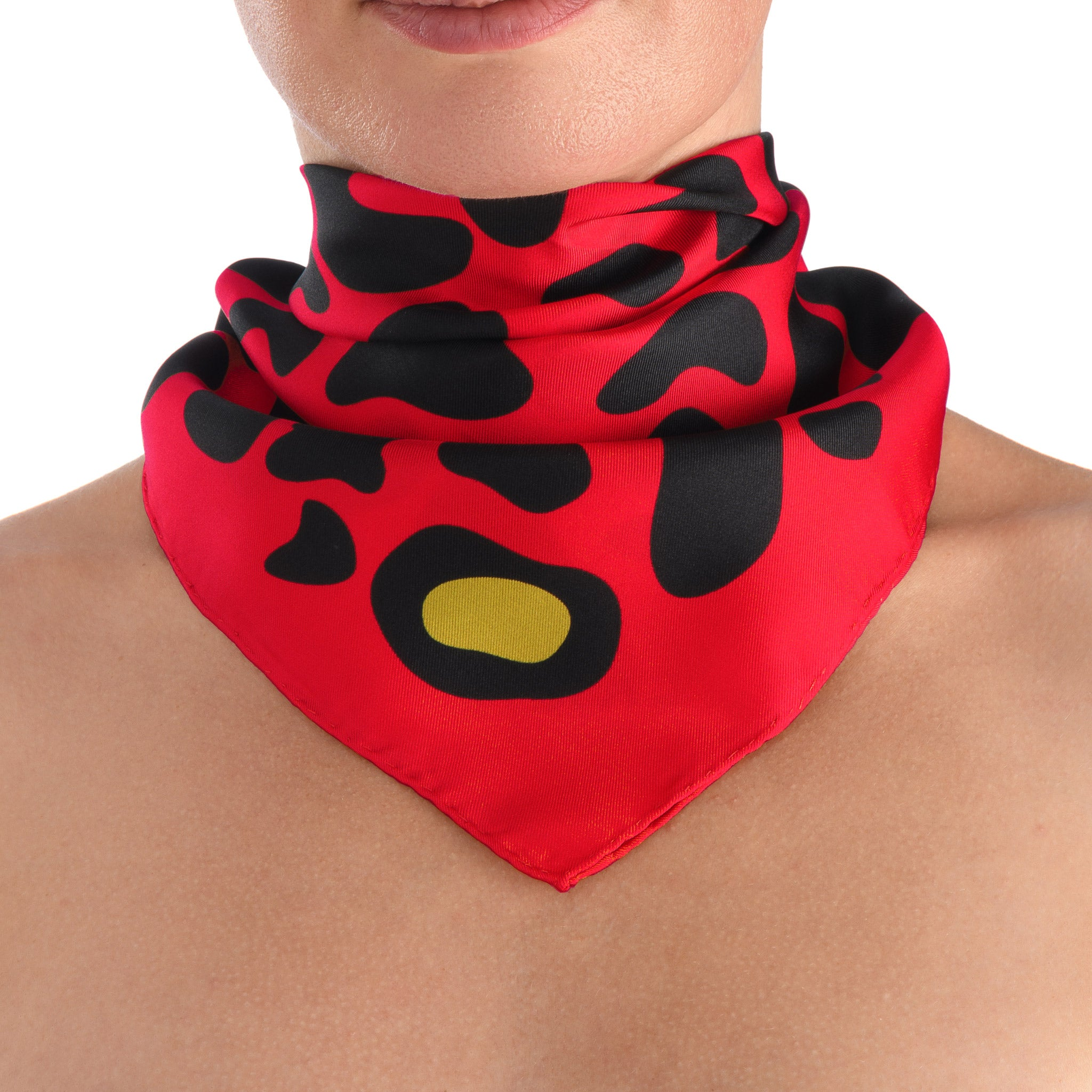 Animal Print Small Scarf in Red
