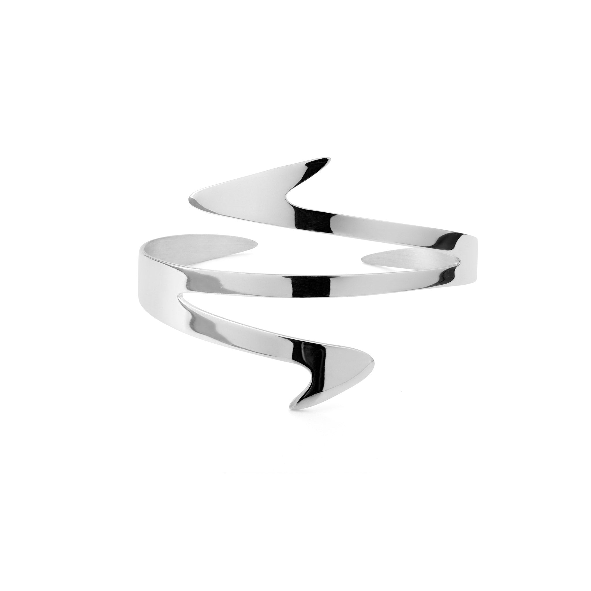 Ziggy Sterling silver cuff for women in white gold