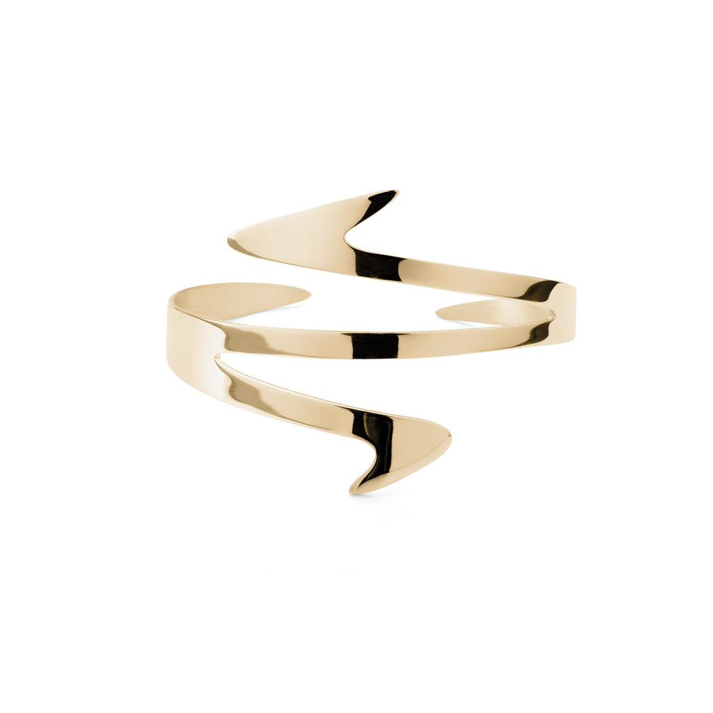 Ziggy Sterling silver cuff for women in yellow gold