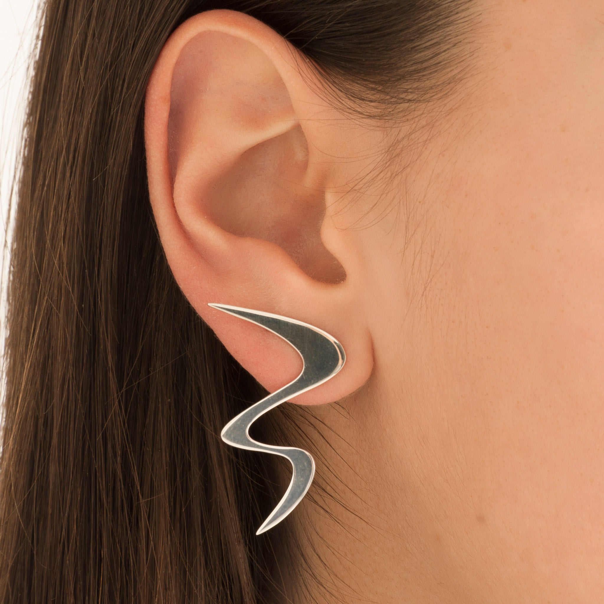 Ziggy Sterling silver earrings for women in white gold