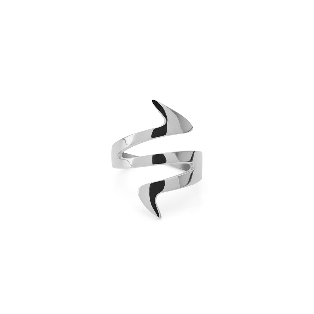 Ziggy Sterling Silver Midi Ring for women in white gold