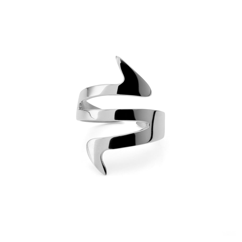 Ziggy Sterling silver ring for women in white gold