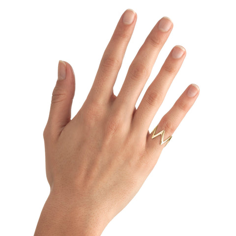 Large Zigzag Stackable Midi Ring