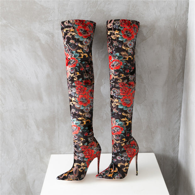 Mstacchi Floral Over Knee Heels