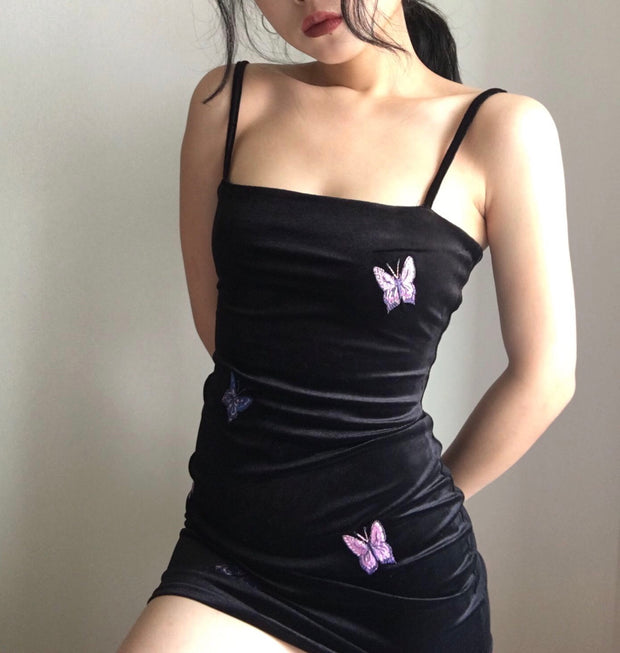Athena Velvet Butterfly Mini Dress
