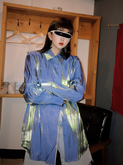 Jasmine Reflective Blue Shirt