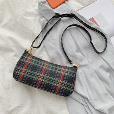 Alexus Black Plaid Handbag