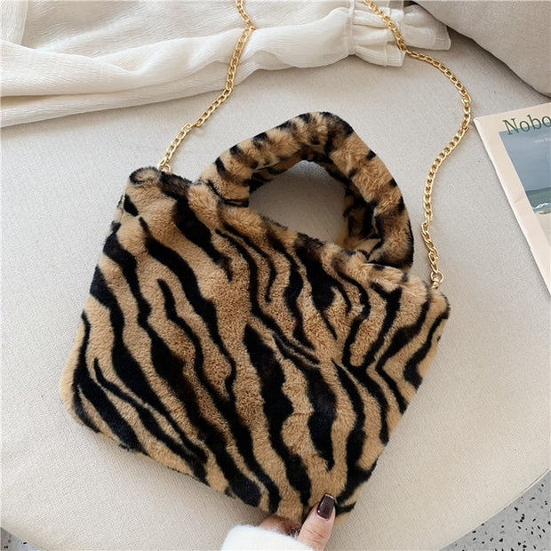 Tiger Plush Faux Fur Bag