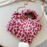 leopard Pink Plush Faux Fur Bag