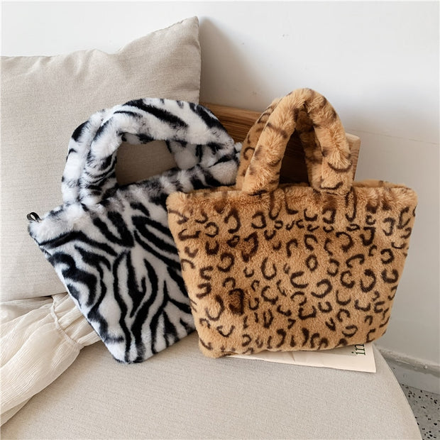 leopard Light Brown Plush Faux Fur Bag