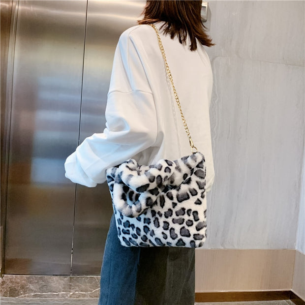 leopard White Plush Faux Fur Bag