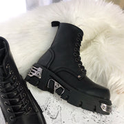 Lisa Military Metal Lace Up Boots