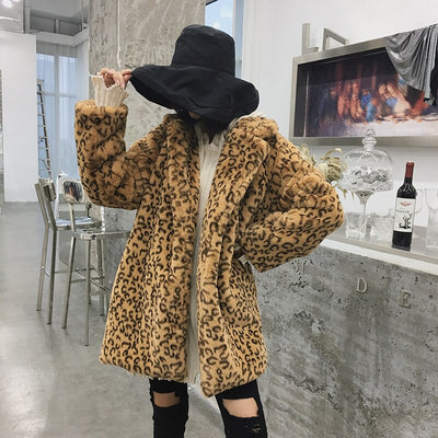 AMMIE Leopard Faux Fur Coat