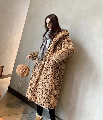 Madonna Leopard Faux Fur Long Coat