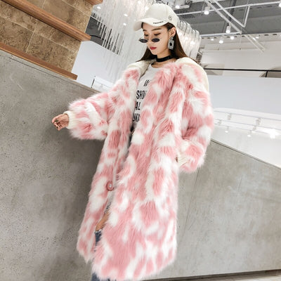 Lumi Pink Faux Fur Long Coat