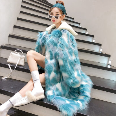 Lemie Blue Faux Fur Coat