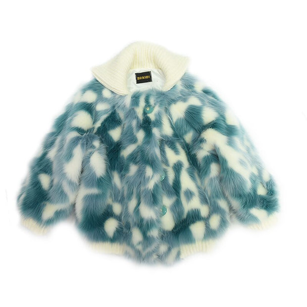 Lami Blue Faux Fur Coat
