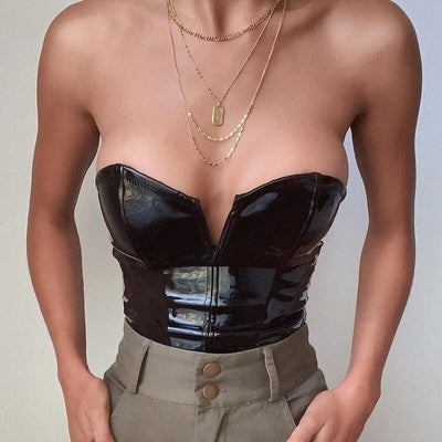 Marilyn PU Leather Crop Top