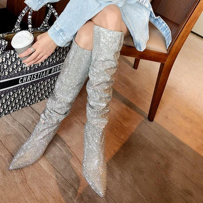 Prova Over Knee Rhinestone High Heel Boots