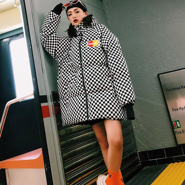 Tootsie Black Checkered Padded Long Coat