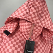 Tootsie Pink Checkered Padded Long Coat