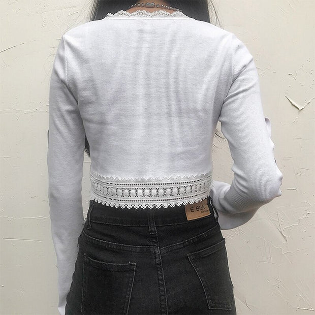 White Light Long Sleeve Crop Top