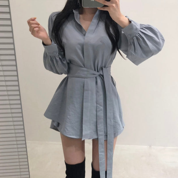Long Sleeve Loose Waist-Controlled Shirt and Casual Shorts Two Piece Set