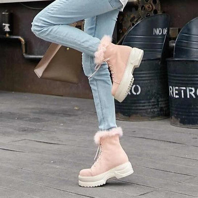 Bunny Pink Lace Up Boots