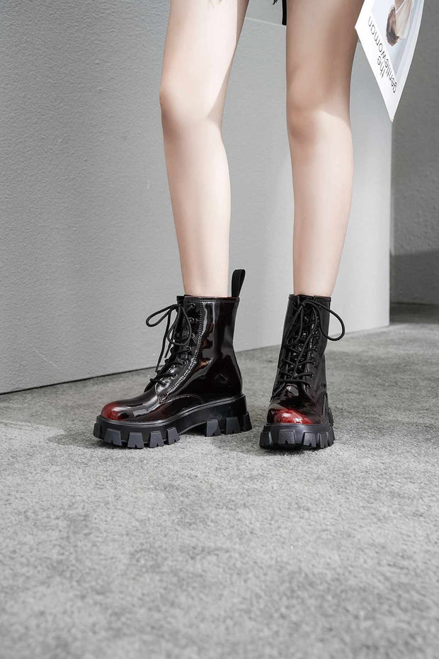 Kacey Patent Lace Up Boots