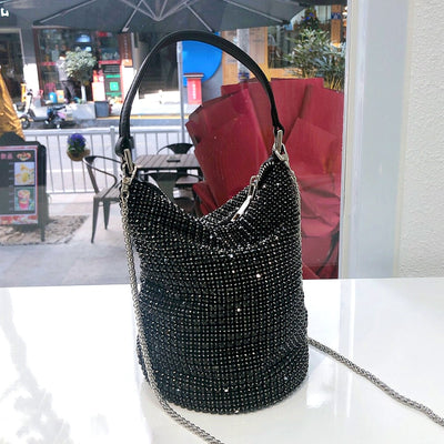 Miliee Black Bling Crystal Clutch Bag