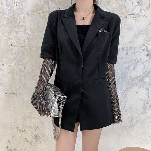 Shelly Diamond Sleeve Blazer