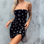 Spaghetti Strap Butterfly Print Lace Up Mini Dress