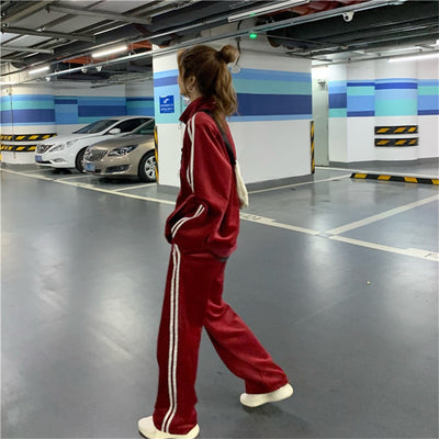 Sporty Velvet Loose Fit Two Piece Set