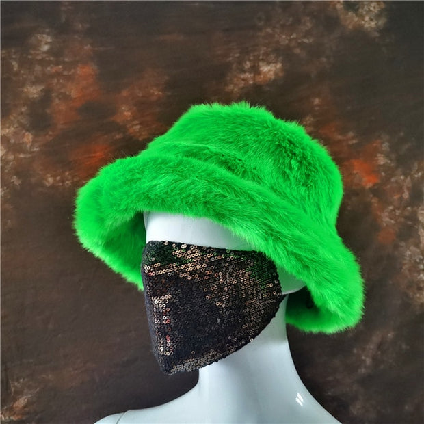 Faux Fur Green Bucket Hat