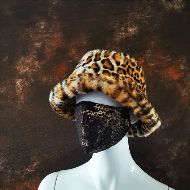 Faux Fur Leopard Bucket Hat