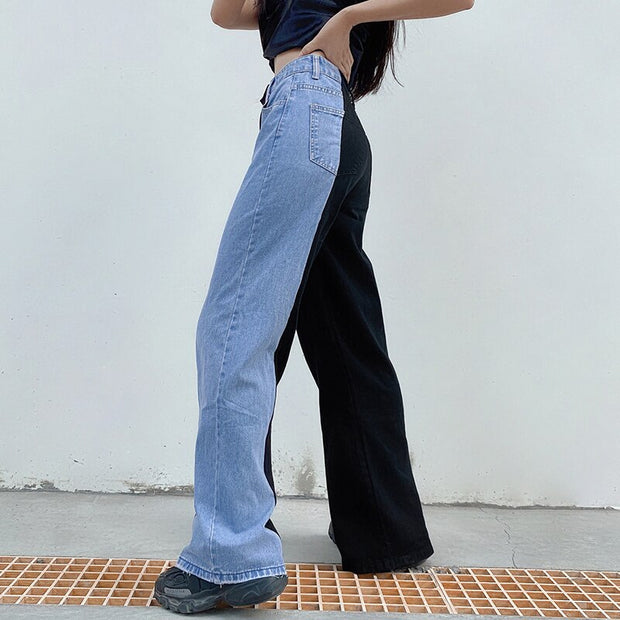 Side Button Patchwork Straight Cargo Denim Pants