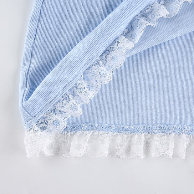 Lace Edge Baby Blue Mini Dress
