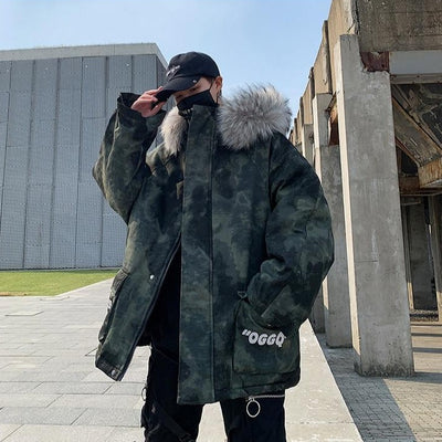 Camouflage Faux Fur Collar Padded Jacket