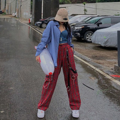 Punk Chain Red Plaid Baggy Pants