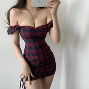 Plaid Off Shoulder Mini Dress