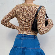 Vintage Lace Design Leopard Print Long Sleeve Top