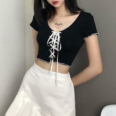 Bow Tie Goth Crop Top