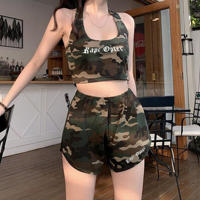 Military Style Camouflage Two Piece Set