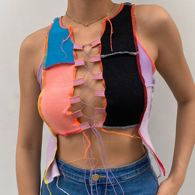 Ribbed Knitted Hollow Out Tie Up Bandage Crop Top